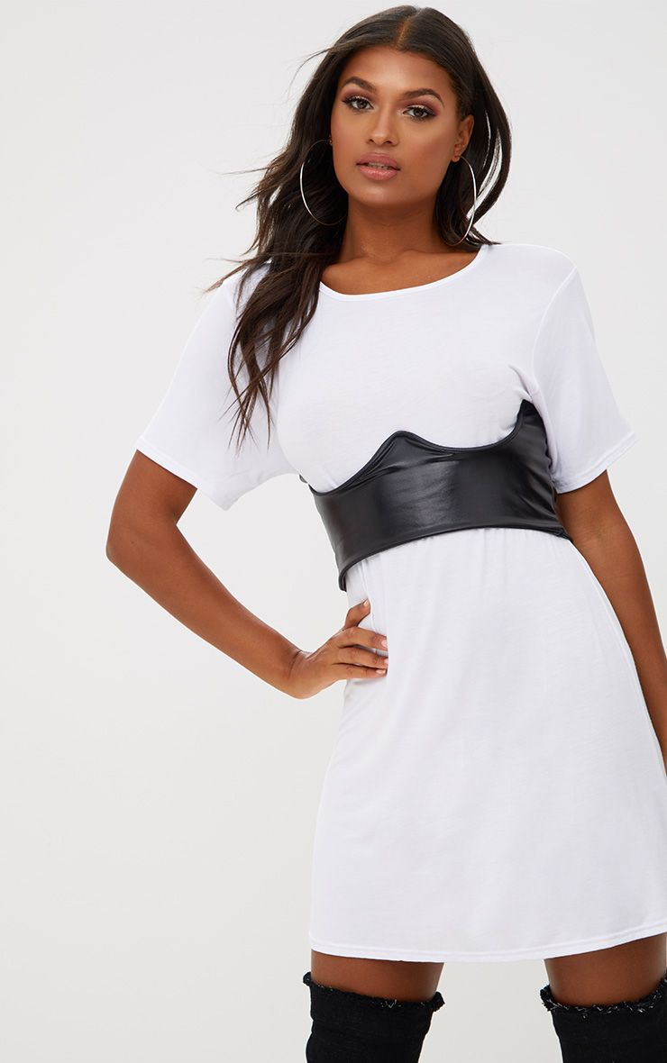 White Contrast Corset Detail T Shirt Dress