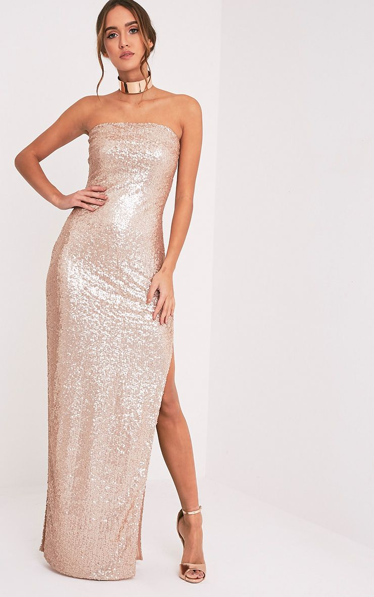 Kathie Rose Gold Bandeau Sequin Maxi Dress
