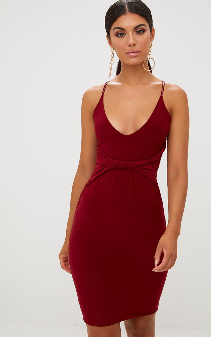 Burgundy Slinky Twist Front Strappy Bodycon Dress