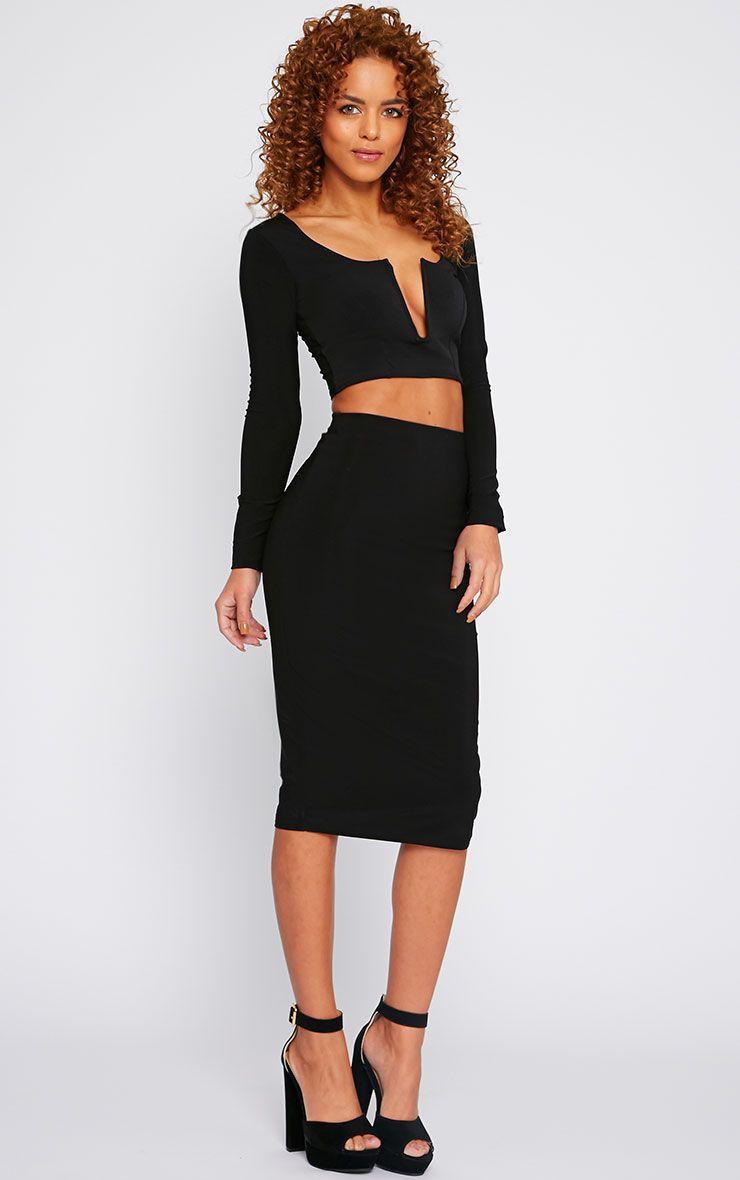 Bessie Black Slinky Midi Skirt  1