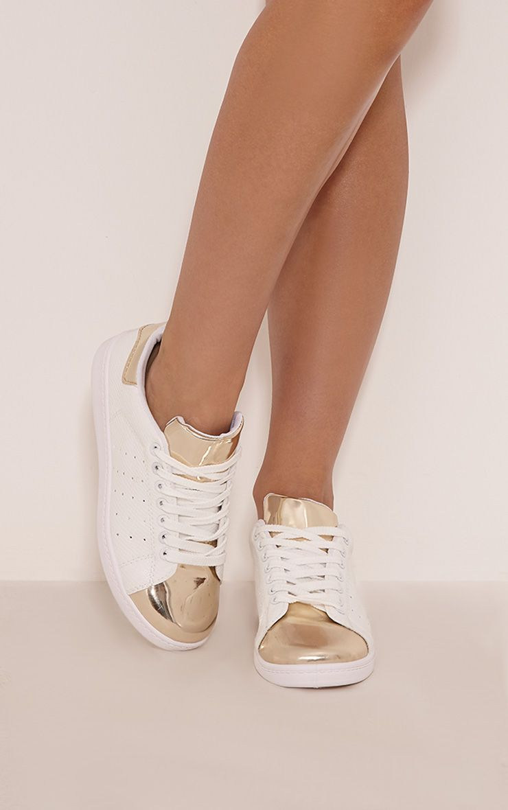 Alix Gold Metallic Detail Casual Trainers 1