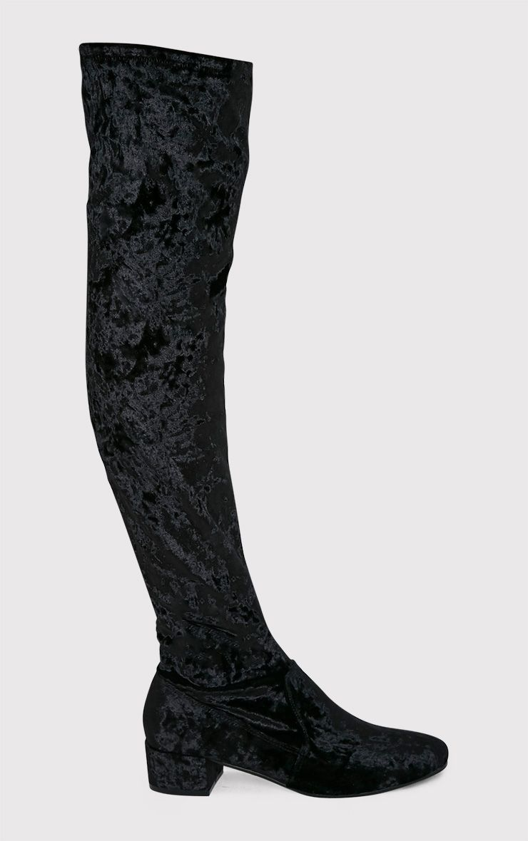 Esmay Black Crushed Velvet Thigh High Boots