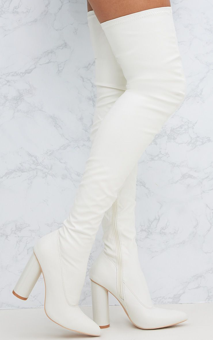 White PU Thigh Boot
