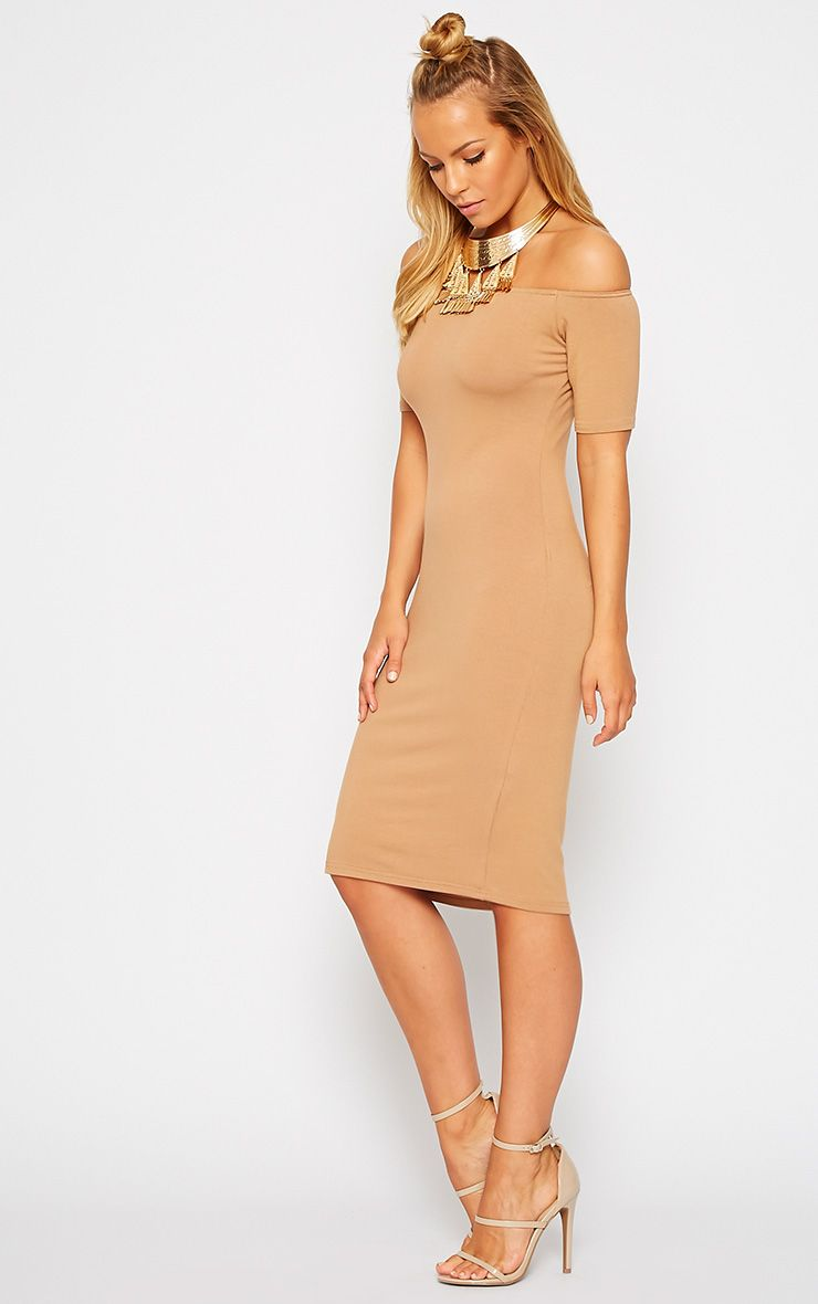 Caty Camel Jersey Bardot Midi Dress 1