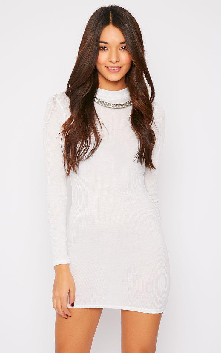 Basic White Long Sleeve Mini Dress 1