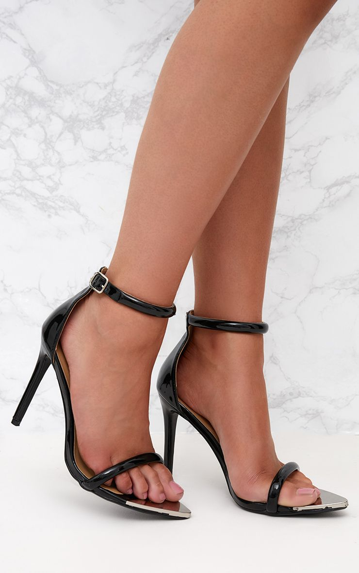 Black Pointed Toe Strappy Heels