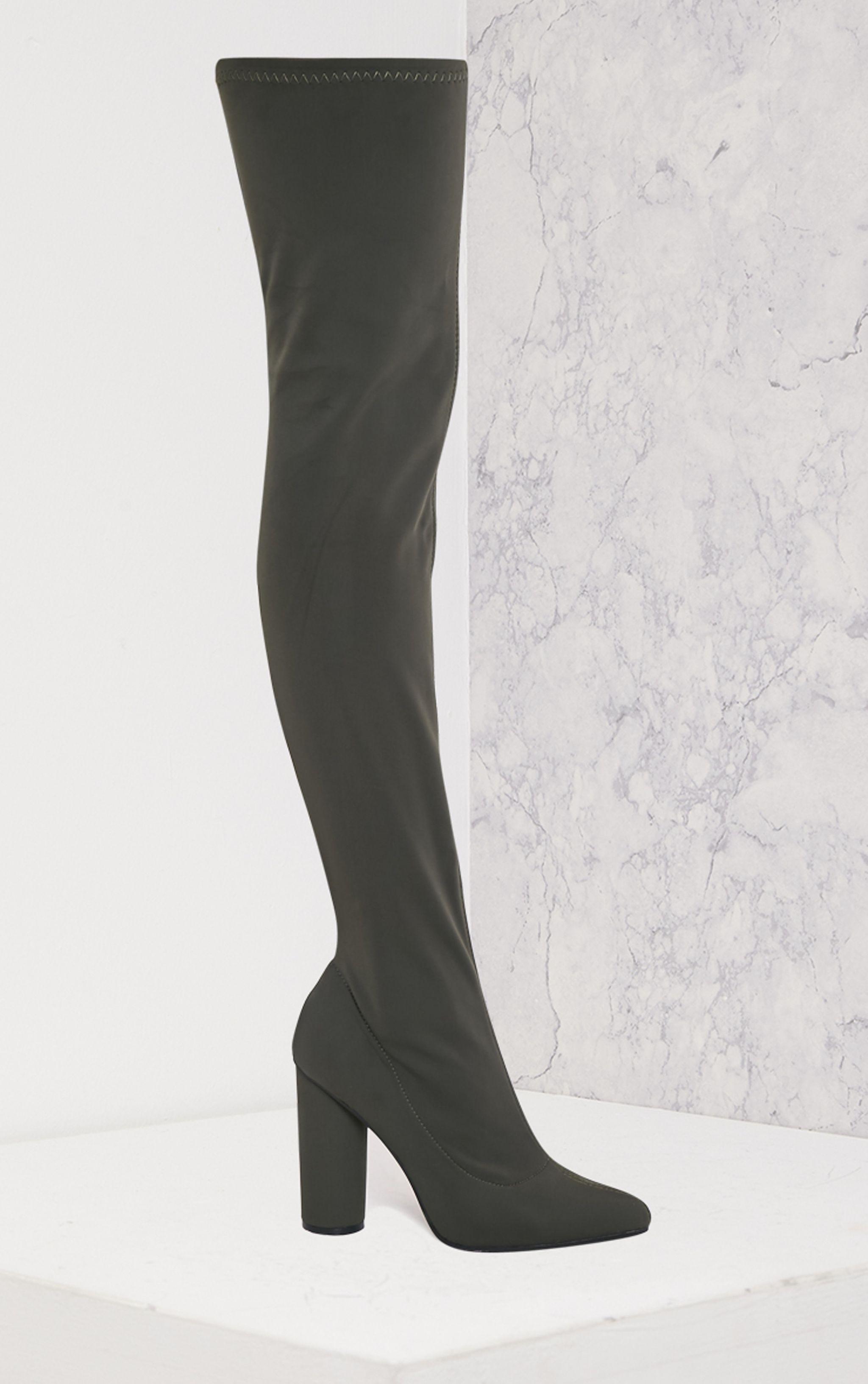 Leenah Khaki Neoprene Pointed Thigh High Heeled Boots