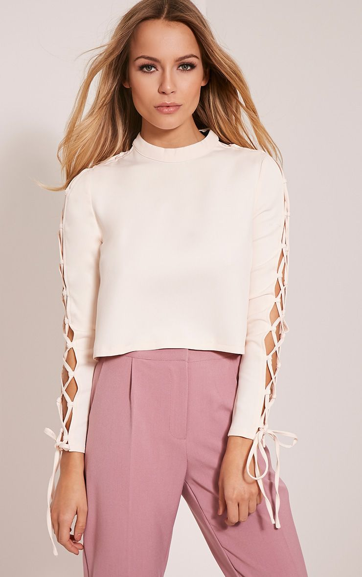 Logan Cream Lace Up Sleeve Crop Top 1