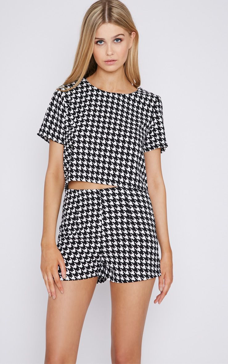 Connie Monochrome Dogtooth Crop Top  1