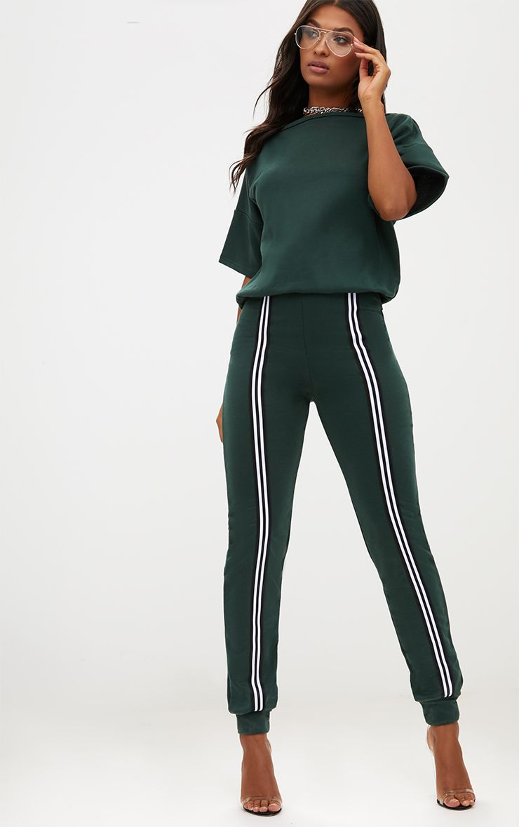 Forest Green Loop Back Sports Stripe Jumpsuit