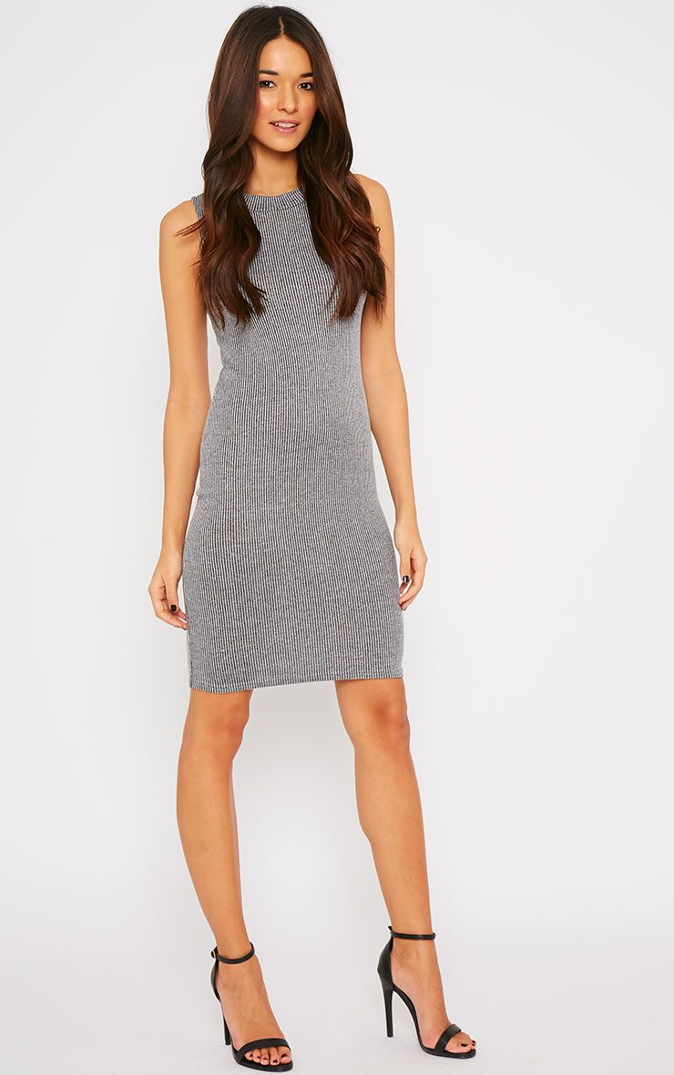 Bella Charcoal Ribbed Sleeveless Dress  1