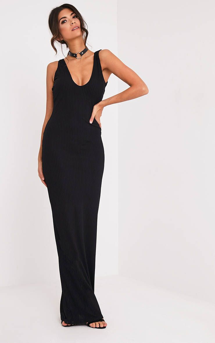 Decota Black Ribbed Plunge Maxi Dress