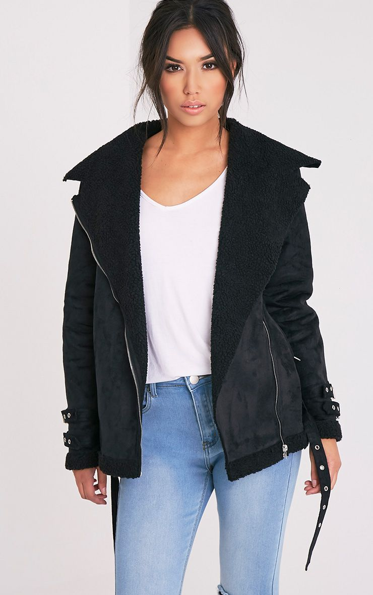 Emilia Black Faux Suede Aviator Jacket