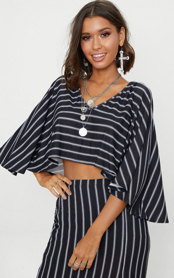 Black Jersey Stripe Open Cape Top