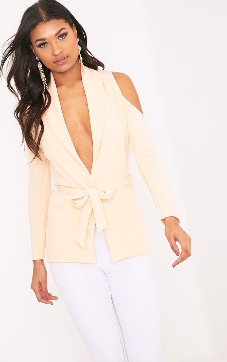 Orabelle Peach Cold Shoulder Belted Blazer