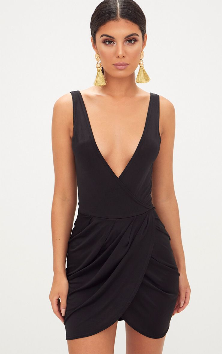 Black Plunge Slinky Wrap Bodycon Dress