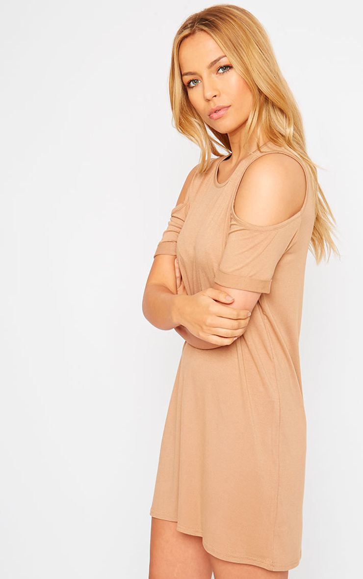 Basic Camel Cut Out Shoulder Dress 1