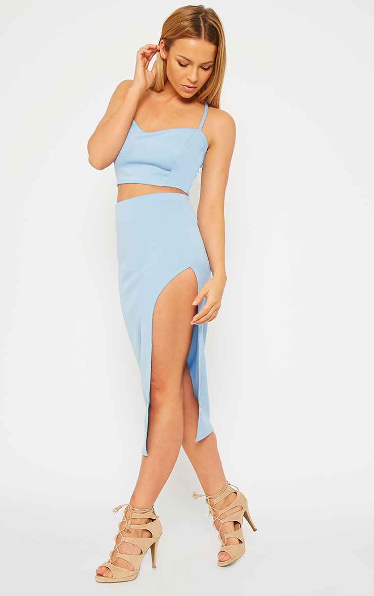 Savina Blue Side Split Midi Skirt 1