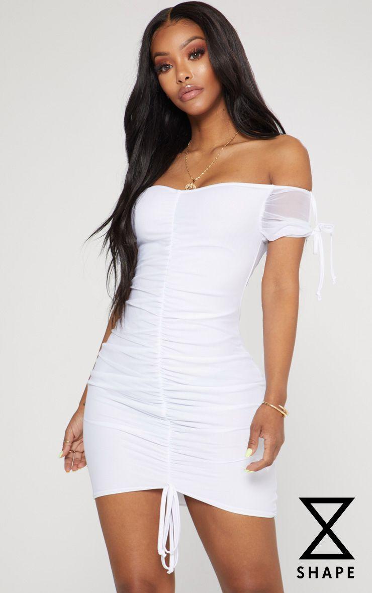 3418d0f04e0a PRETTYLITTLETHING. SHAPE WHITE RUCHED MESH BARDOT BODYCON DRESS