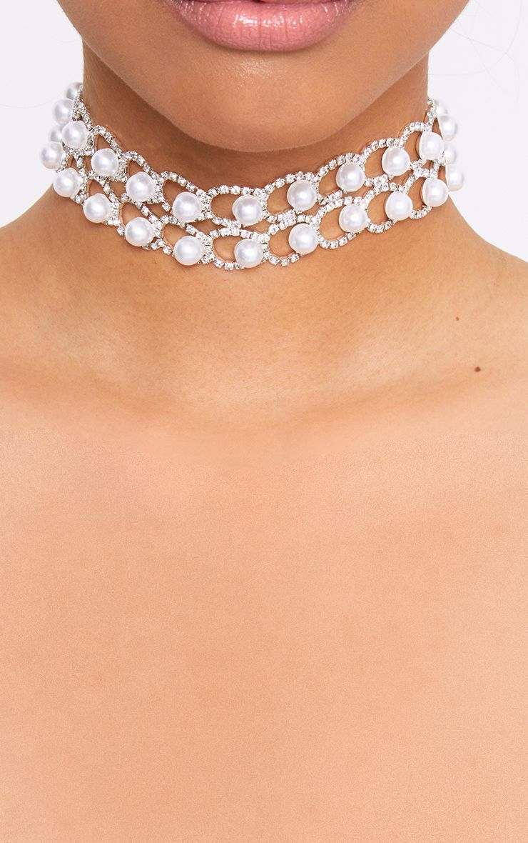 Silver Double Rowed Diamante & Pearl Choker