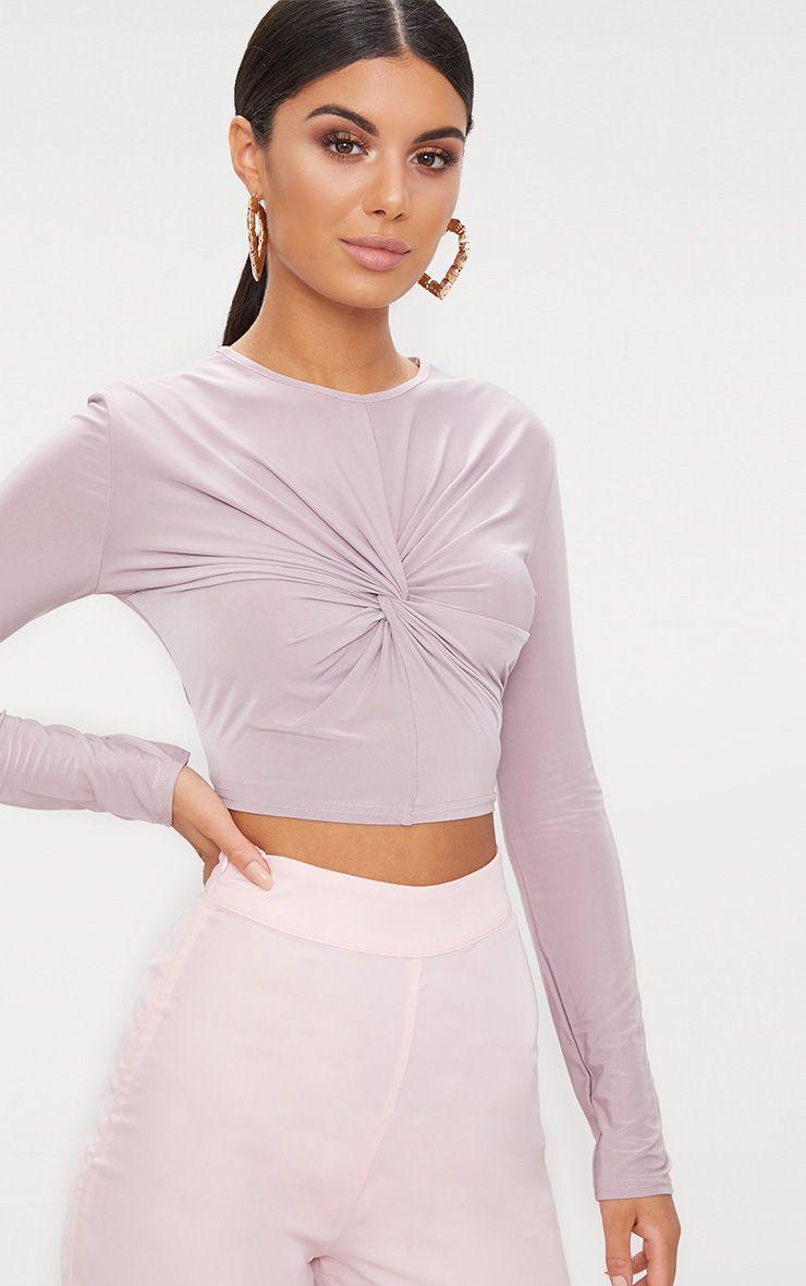 Lilac Slinky Longsleeve Twist Front Crop Top