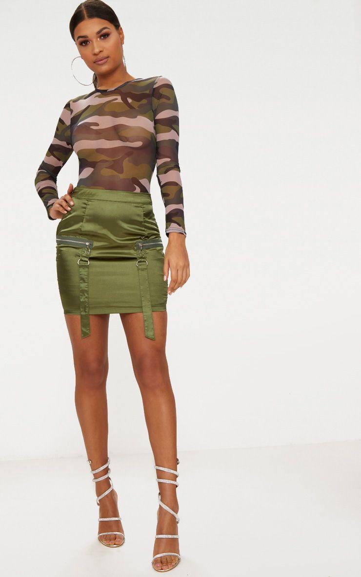 Khaki Satin Pocket Detail Mini Skirt
