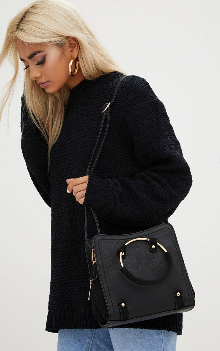 Black Hoop Handle Shoulder Bag