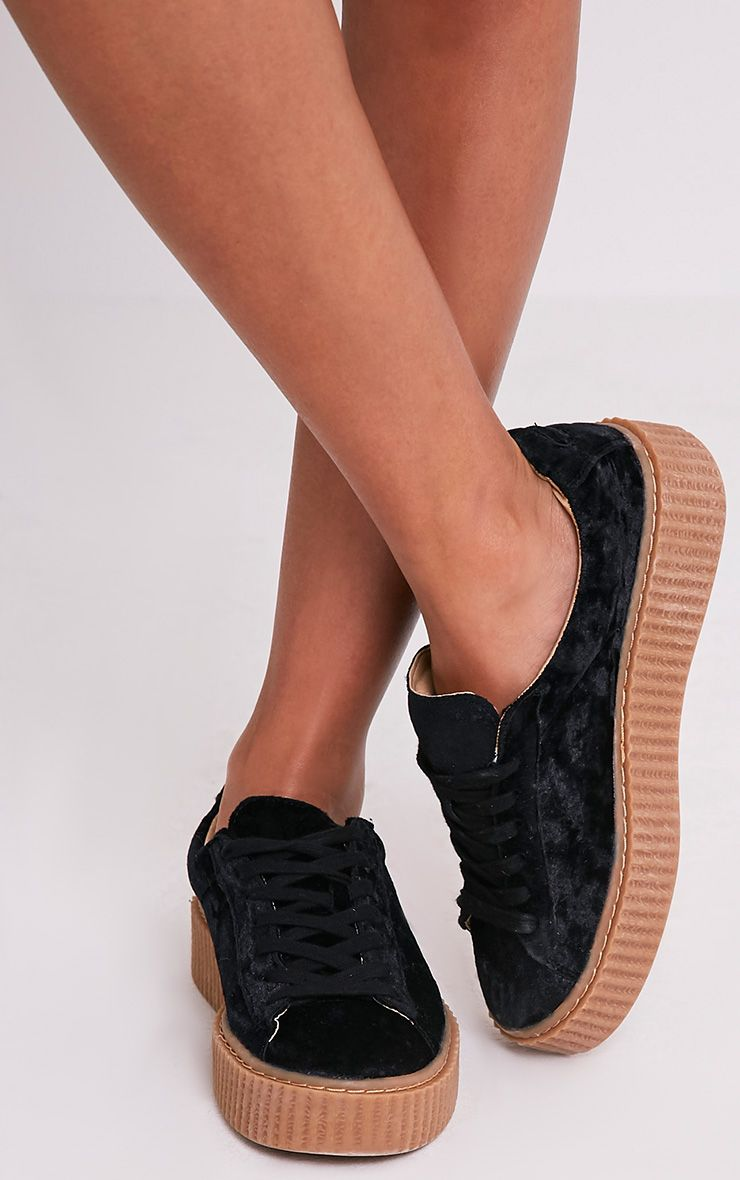 Anahita Black Crushed Velvet Creeper Trainers