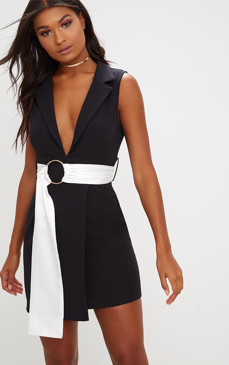 Black Sleeveless Satin Belt Blazer Dress