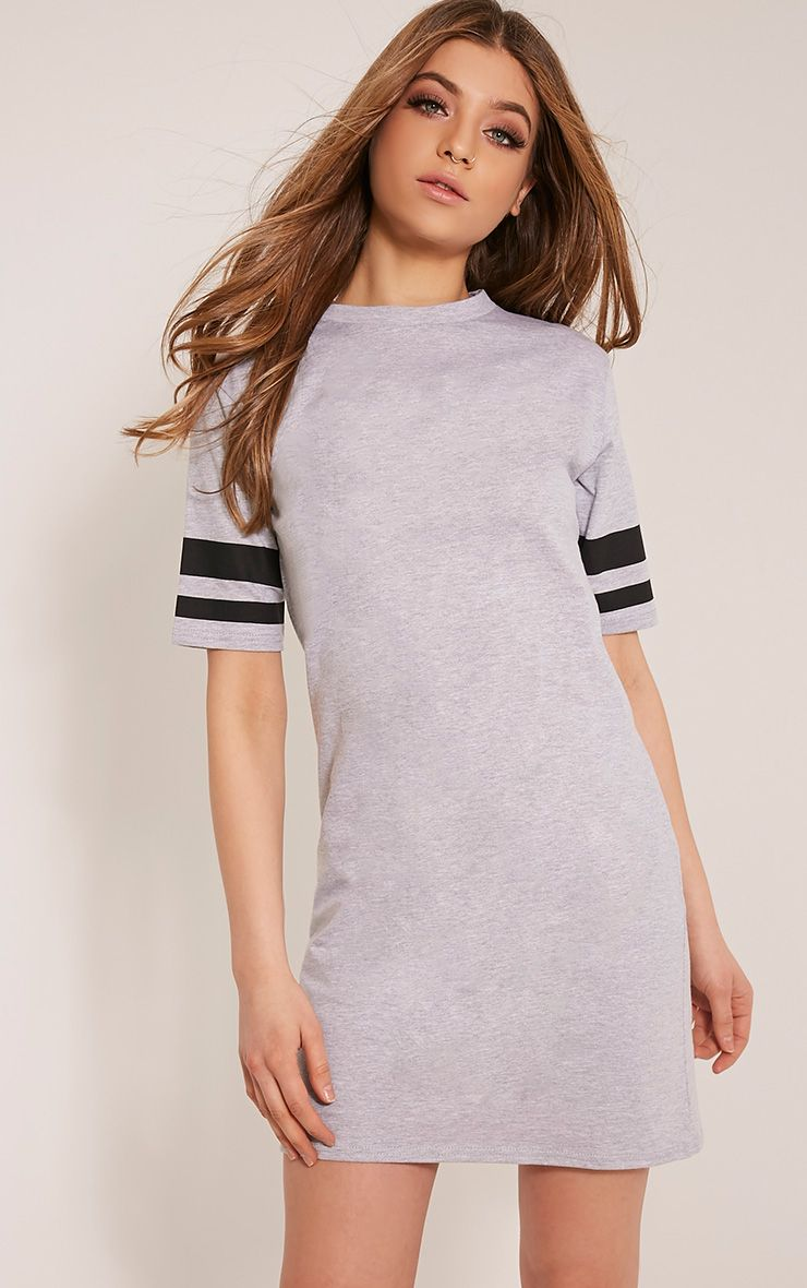 Taylia Grey Marl Stripe Sleeve T Shirt Dress 1