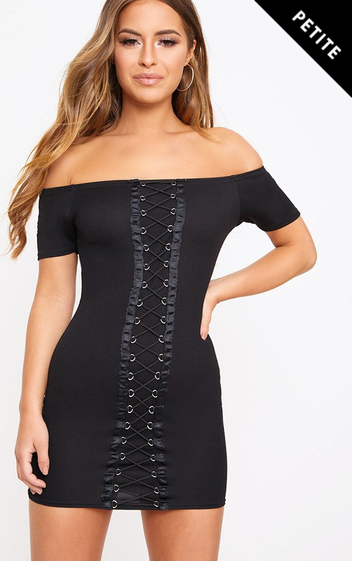 Petite Black Lace Up Front Bodycon Dress