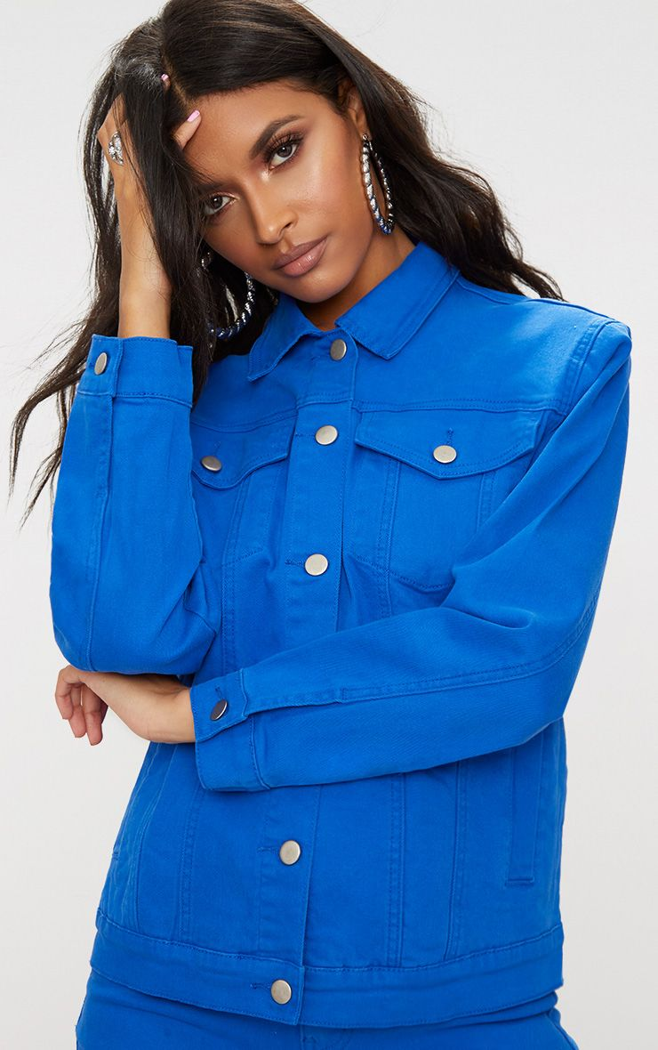 Cobalt Distressed Boyfriend Fit Denim Jacket
