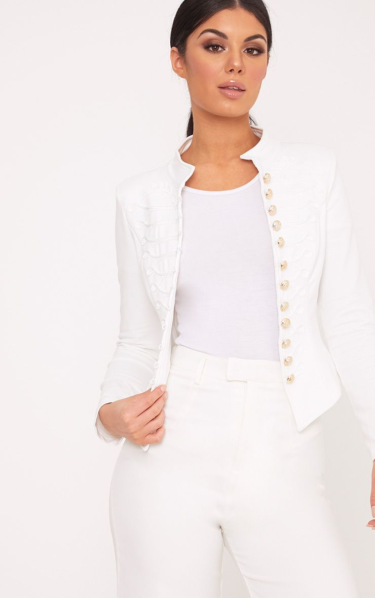 Zoeey White Slim Fit Cropped Military Jacket