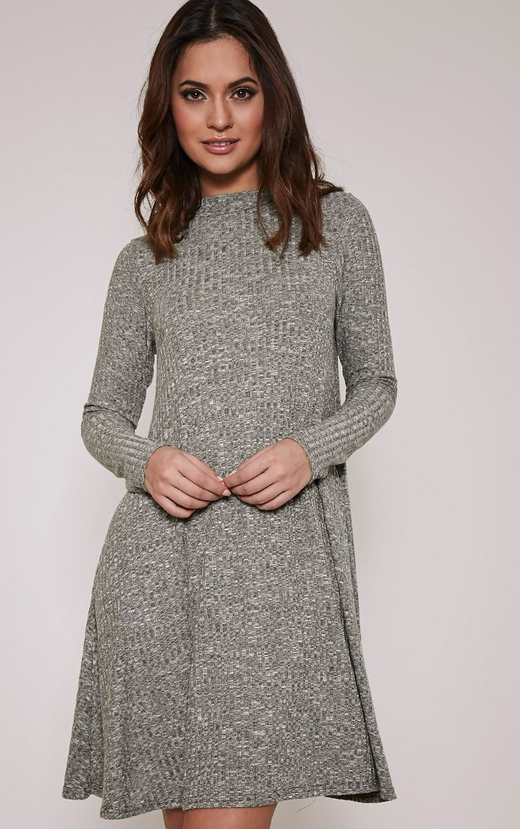 Renae Khaki High Neck Swing Dress 1