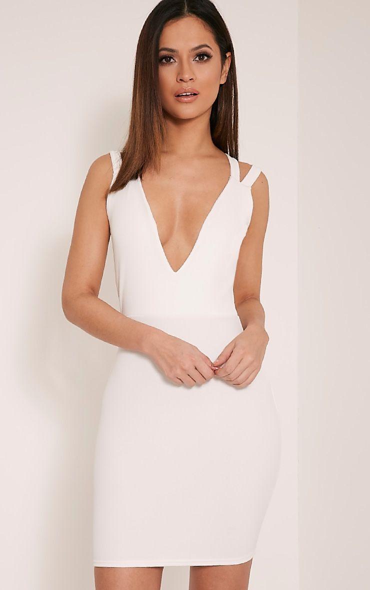 Rayana White Cross Back Bodycon Dress 1