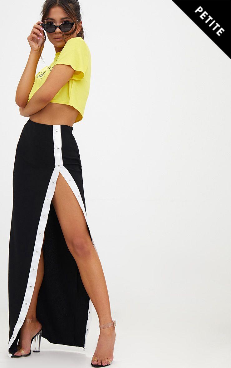 Petite Black Popper Detail Maxi Skirt 1