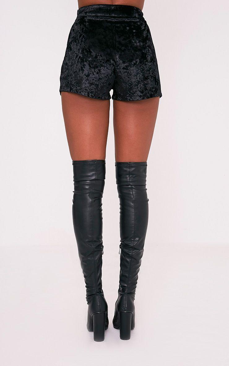 Aly Black Crushed Velvet Lace Up Hotpants 5