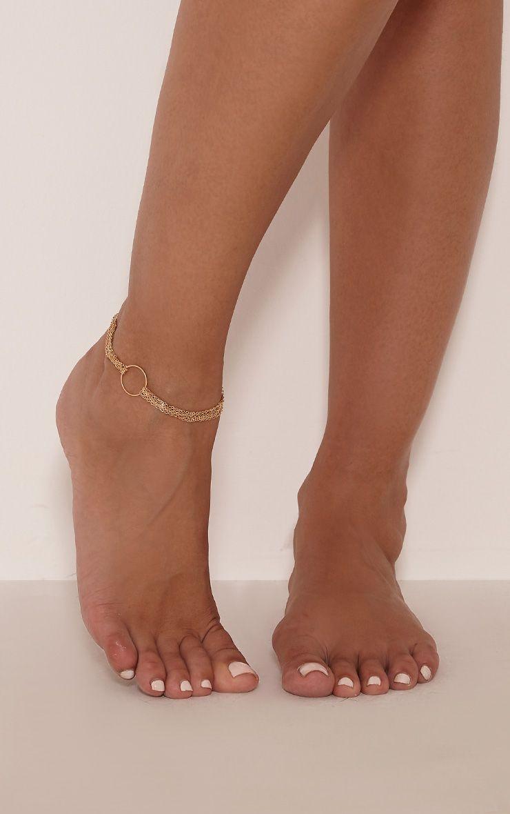 Abagail Gold Circle Detail Anklet 1