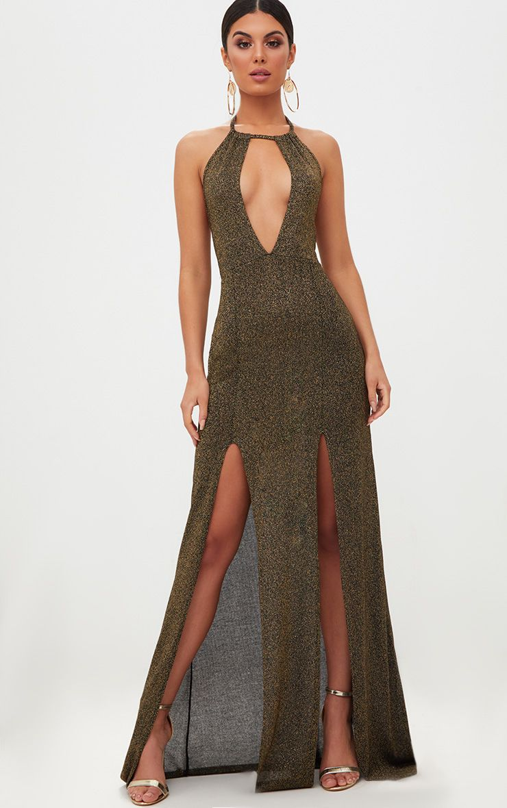 Gold Glitter Lurex Halterneck Maxi Dress