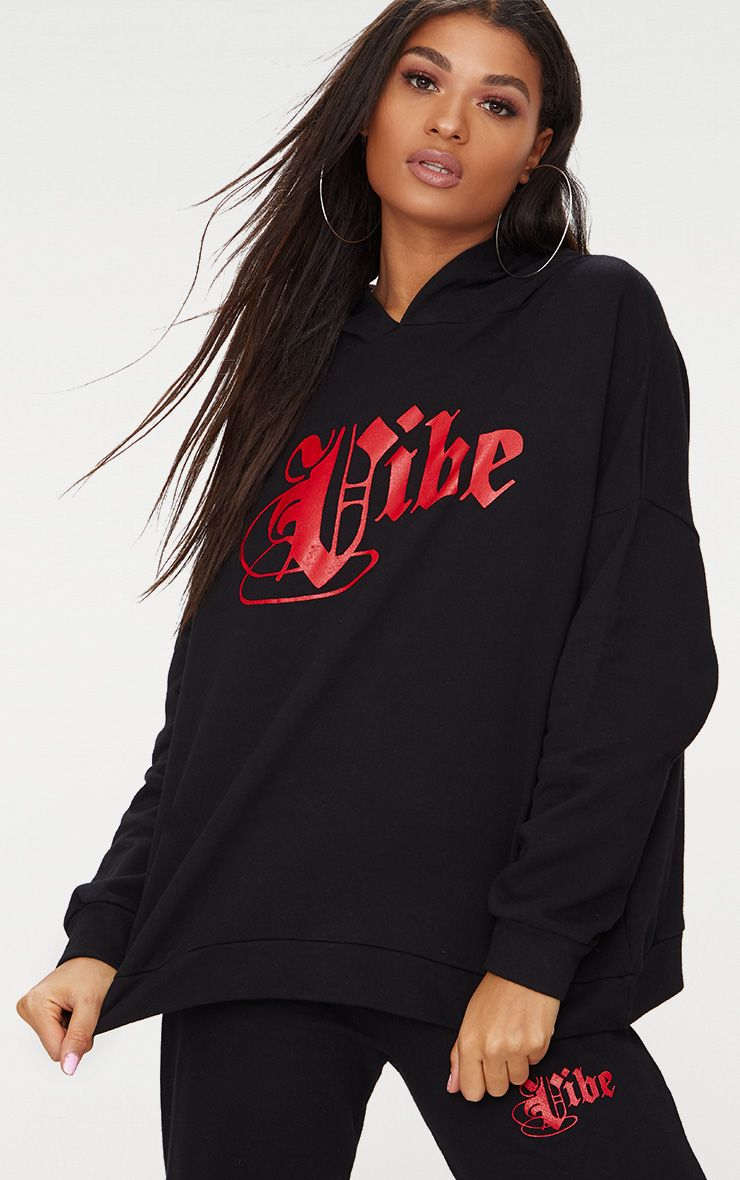 Black Vibe Slogan Oversized Hoodie