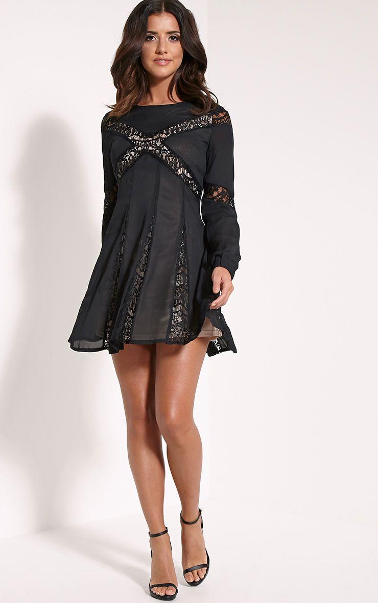 Elania Black Lace Insert Skater Dress 1