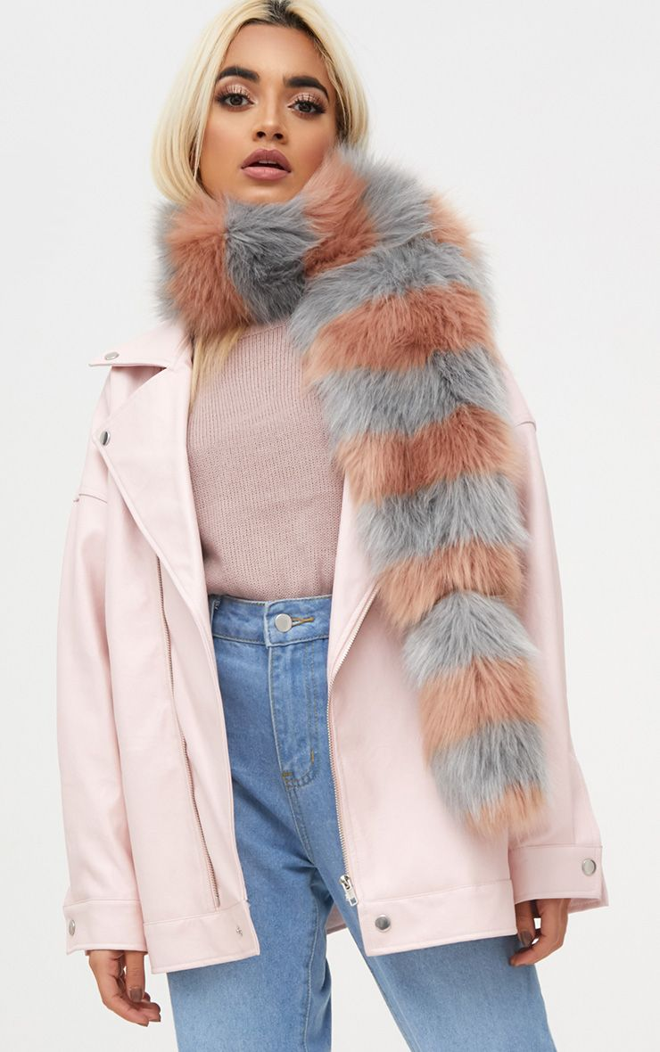 Grey and Peach Long Two Tone Faux Fur Scarf