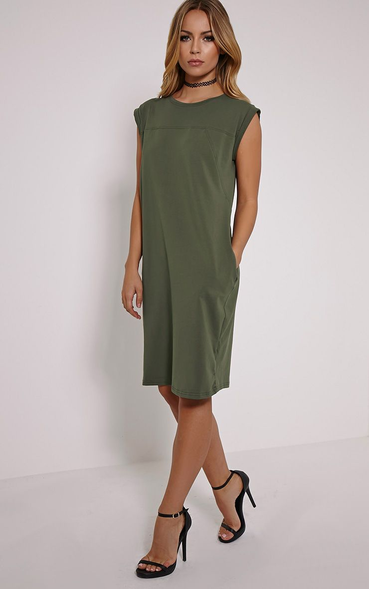 Tessie Khaki T-Shirt Dress