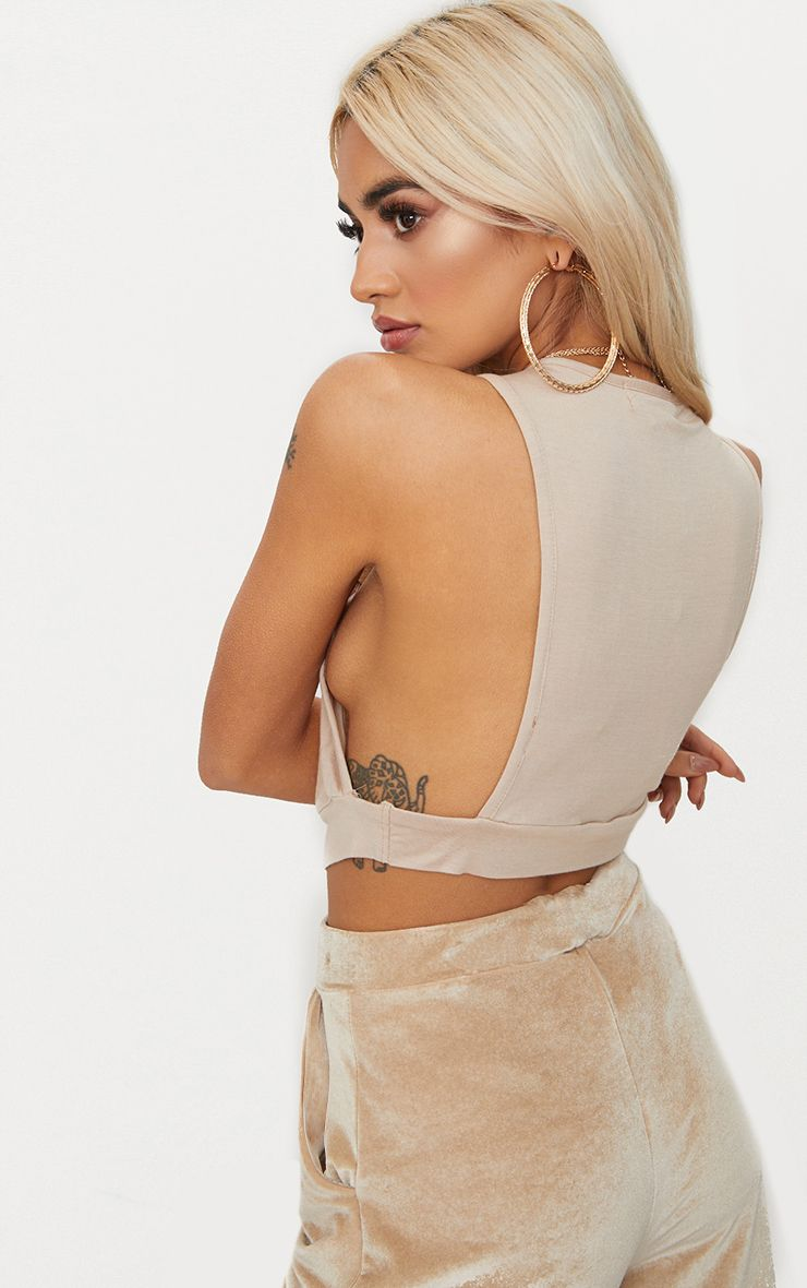 Basic Stone Low Arm Crop Top