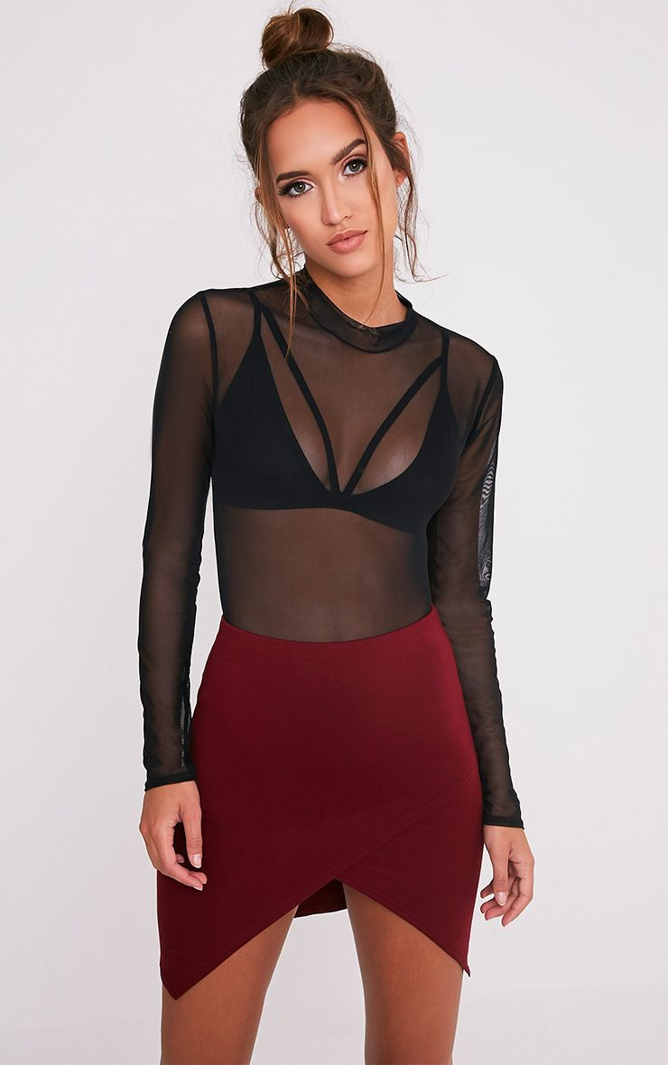 Myla Burgundy Wrap Mini Skirt 1