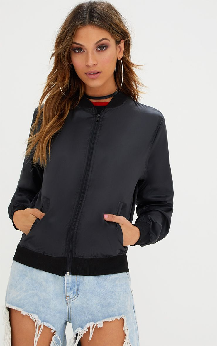 Ainnie Black Lightweight Bomber Jacket