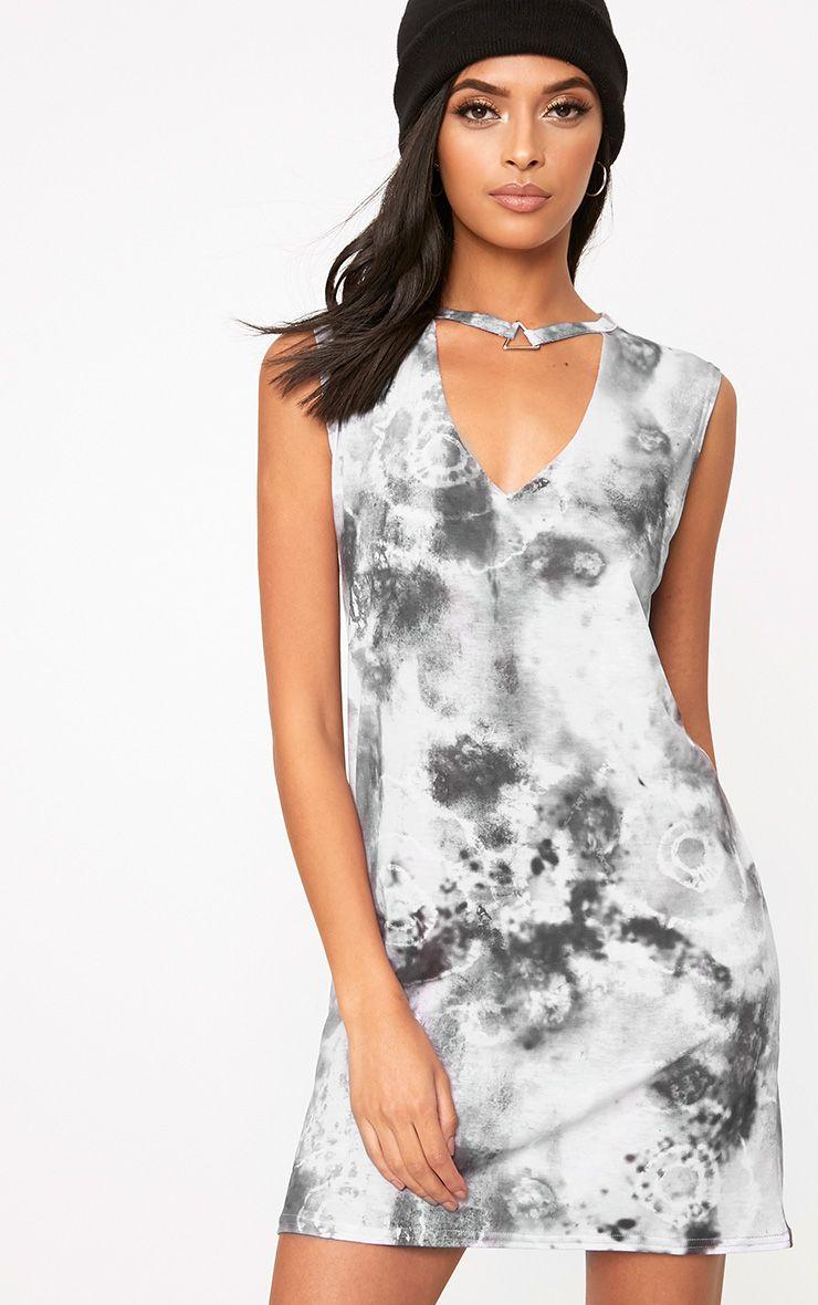Black Tie Dye Triangle Trim T Shirt Dress