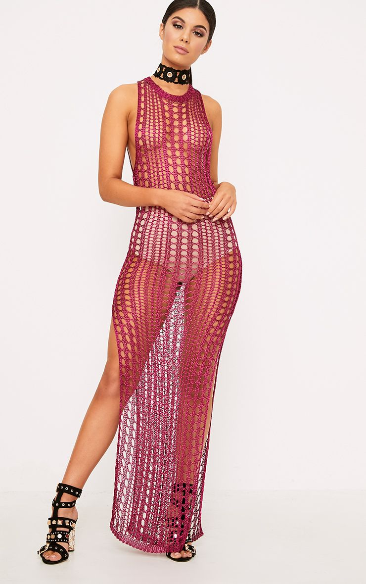 Elissa Bright Pink Metallic Open Knit Maxi Dress