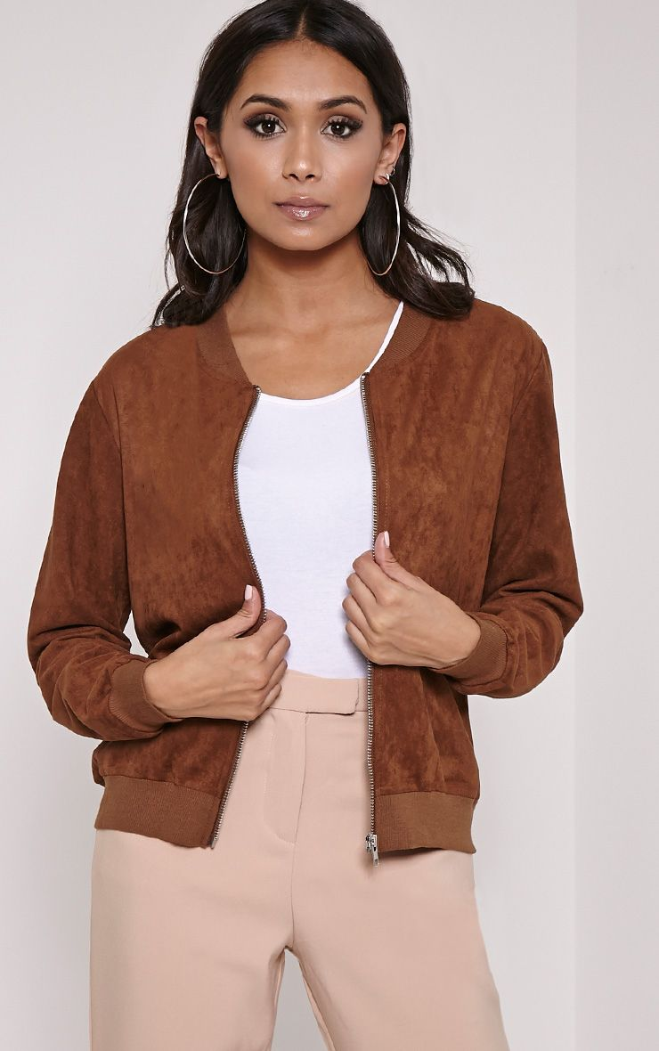 Riva Brown Faux Suede Bomber Jacket 1