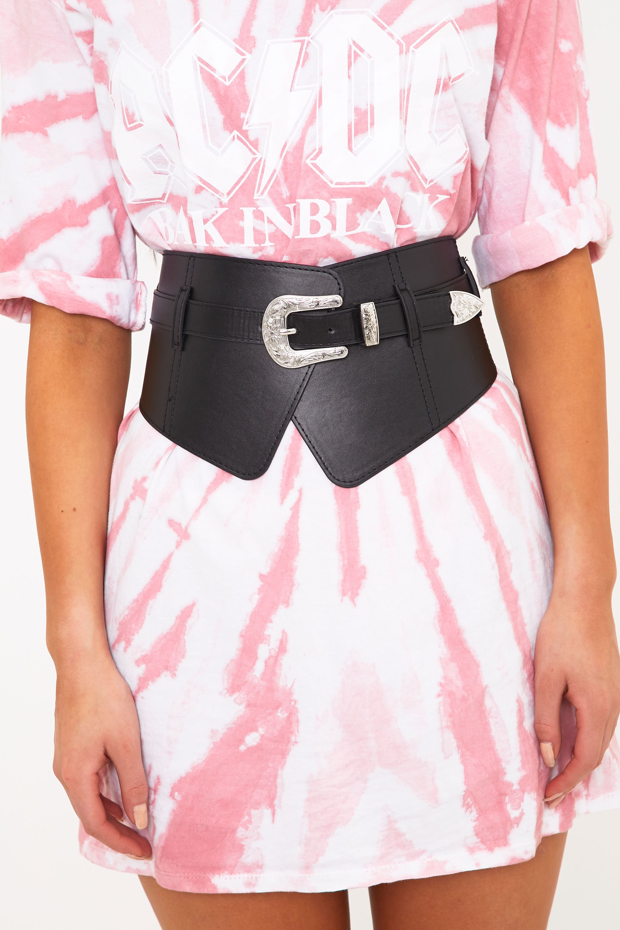 Riana Black Buckle Crossover Waist Belt
